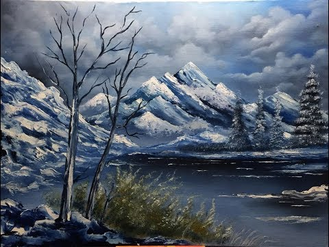 easy landscape oil painting tutorial in Hindi (हिन्दी)