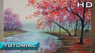 Cómo Dibujar un Paisaje de Árboles rojos y un río al Pastel Paso a Paso - Tutorial