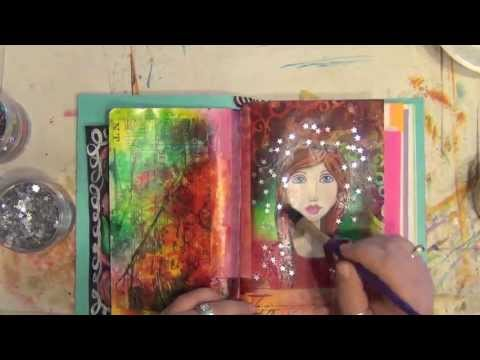 Mixed Media Art Journal Page - How-To - Acrylic Painting - Star Girl