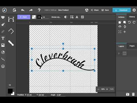 Controlling over curved text in CleverBrush vector editor