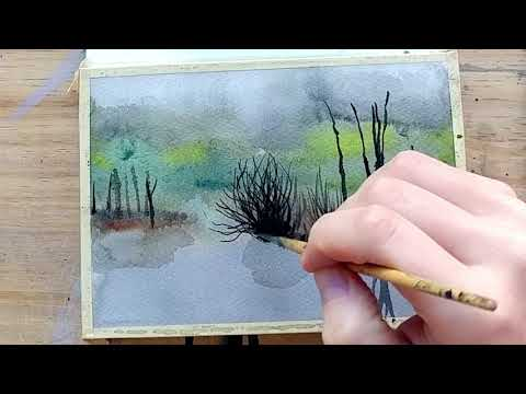 Relaxing Watercolor and Ink Painting Timelapse Video with Reflections