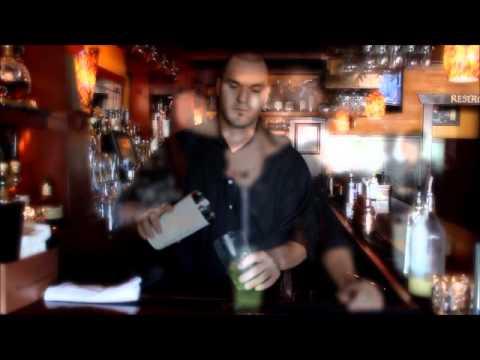 The Bungalow Restaurant- Bartender Dane makes a muddled cocktail!