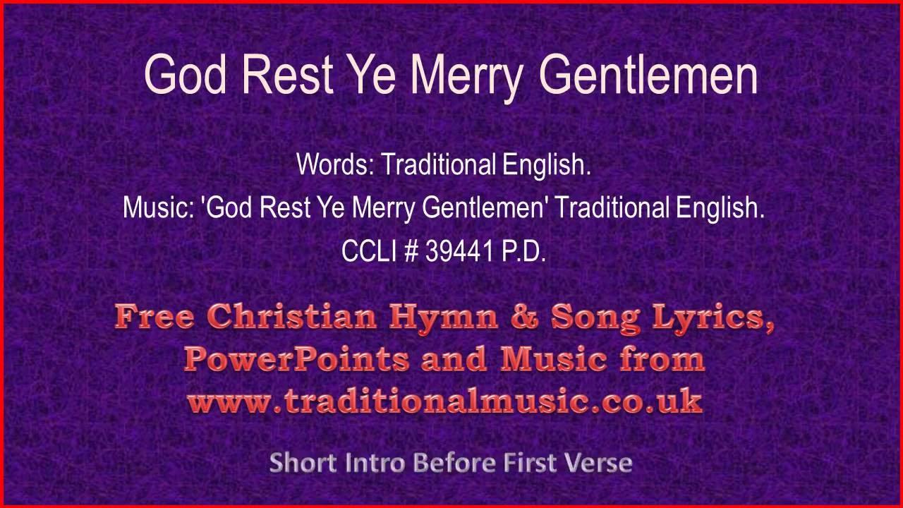 God Rest Ye Merry Gentlemen(full verses) - Christmas Carols Lyrics ...