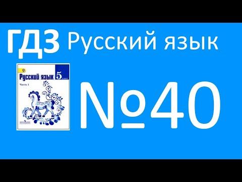 ГДЗ по русскому языку, Ладыженская 5 класс, упражнение 40