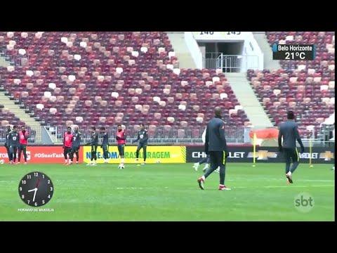 Brasil treina pela primeira vez no estádio da final da Copa do Mundo | SBT Brasil (22/03/18)