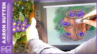Pot of Purple Primrose - Digital Painting Outdoors