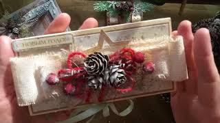 Обзор новогодних работ: венок, шоколадница, блок на магните