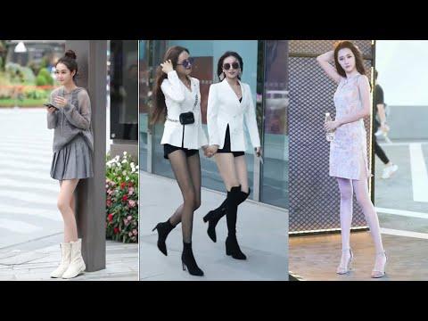 Tik Tok China #11 Pretty Girls Mejores Fashion Walking Style Street Dress Outfit.  抖音時尚網紅街拍合輯。