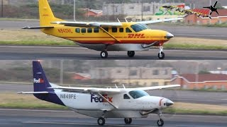 Double Cessna 208 Caravan Action !!!! DHL and FedEx @ St Kitts R.L.B Int