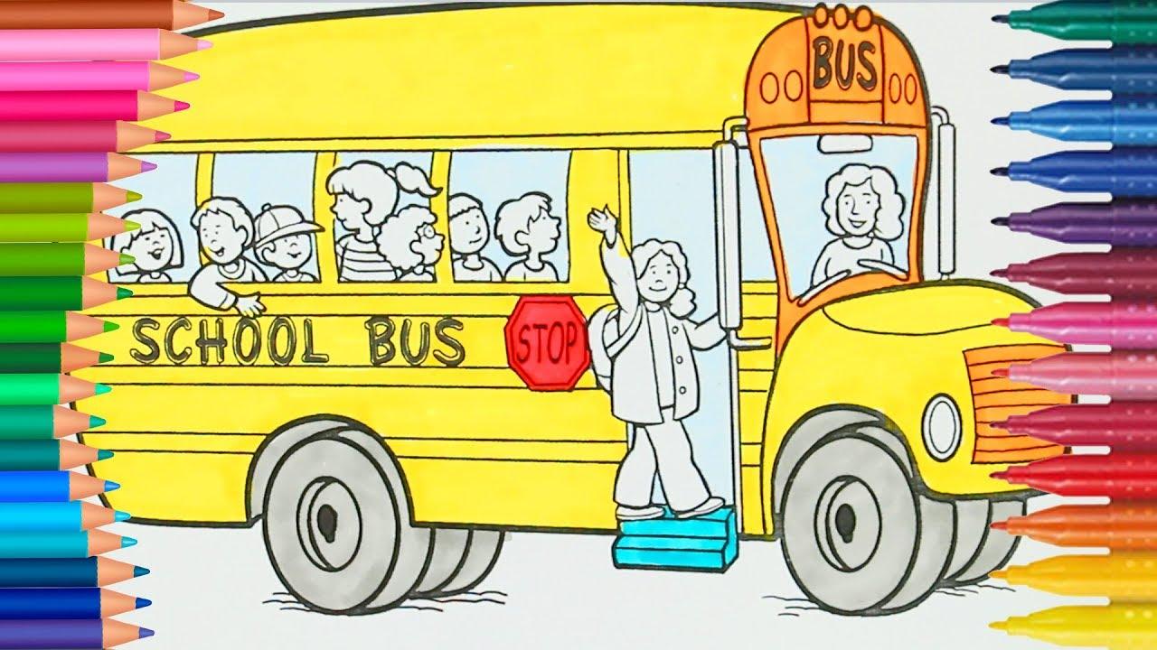 Schulbus Malbuch  Gelber Schulbus fährt zur Schule Deutsch ...