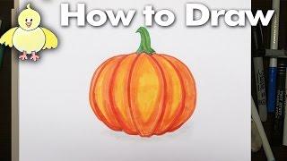 How to Draw an Easy Cartoon Pumpkin Gourd - Step by Step