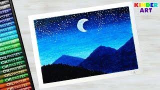 Как нарисовать горы масляной пастелью поэтапно для начинающих - Ночной пейзаж