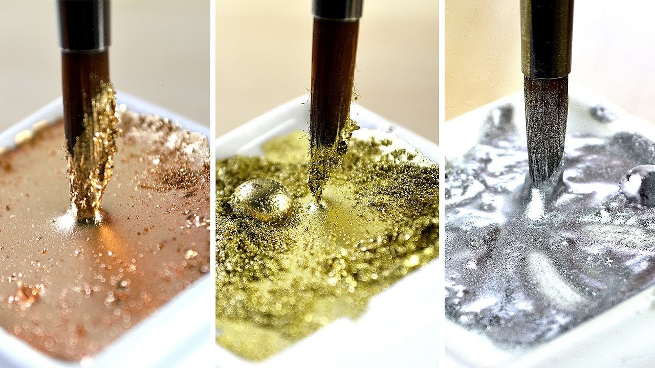 SATISFYING METALLIC PAINTS】 For Use With Watercolor - YouTube
