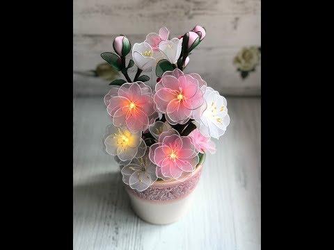 #светильникизкапрона МК Светильник «Сакура» Цветы из капрона🌸 Часть 2
