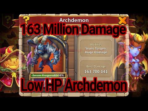 Castle Clash Archdemon 163 Million Damage Low HP