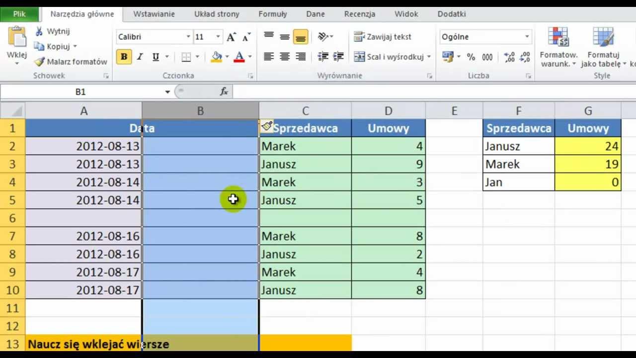 Excel 2010 Wstawianie Wiersza I Kolumny Porada 14