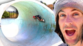 SKATING THE LARGEST FULL PIPE?!