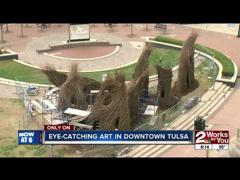 New downtown Tulsa art made entirely of sticks