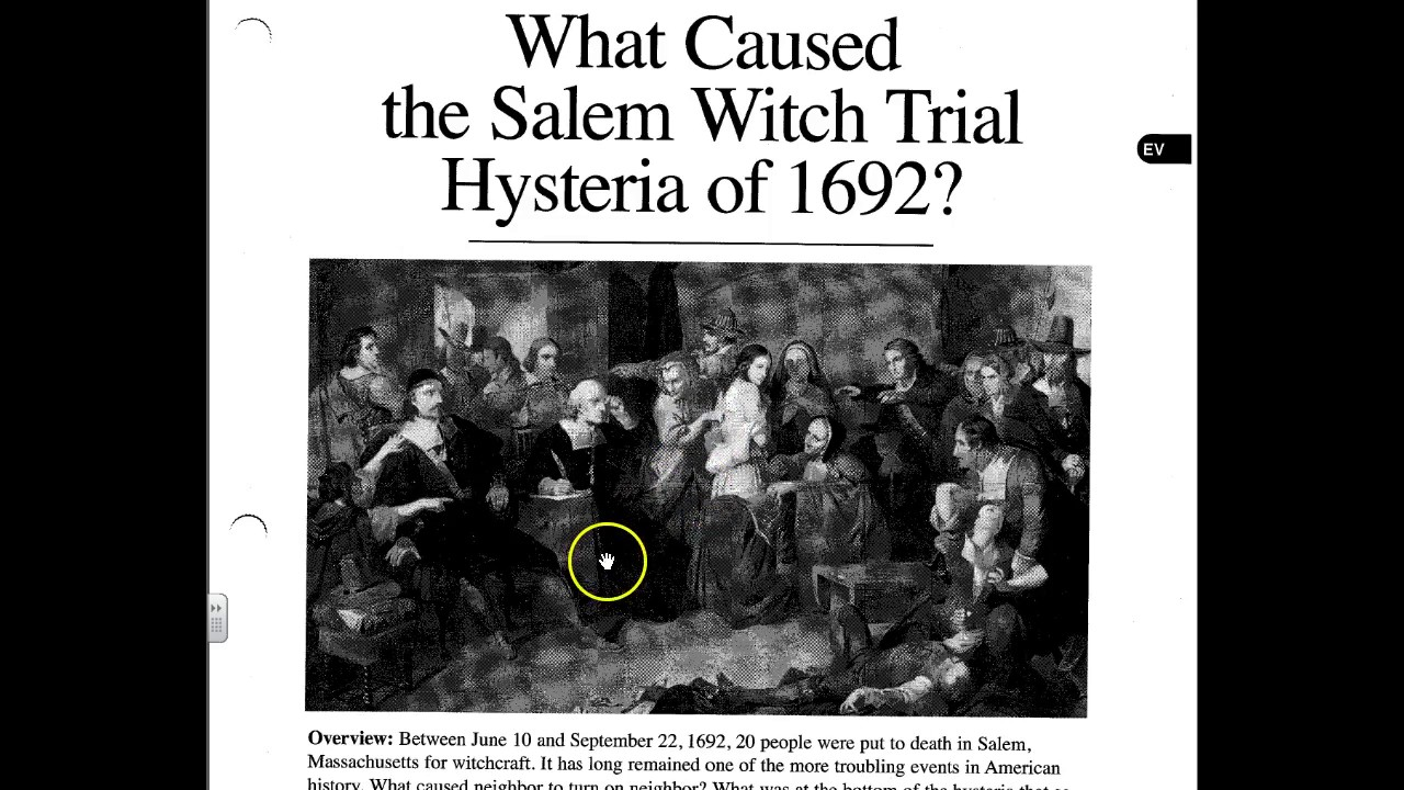 thesis on the salem witch trials In both the salem witch trials and the mccarthy era, we see that unscrupulous people get ahead by using the fears of other people.