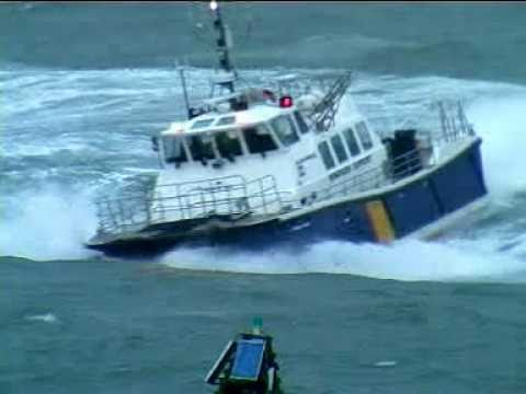 Windfarm service vessel 'Island Tiger' undergoing rough weather sea trials off Cork,  2011