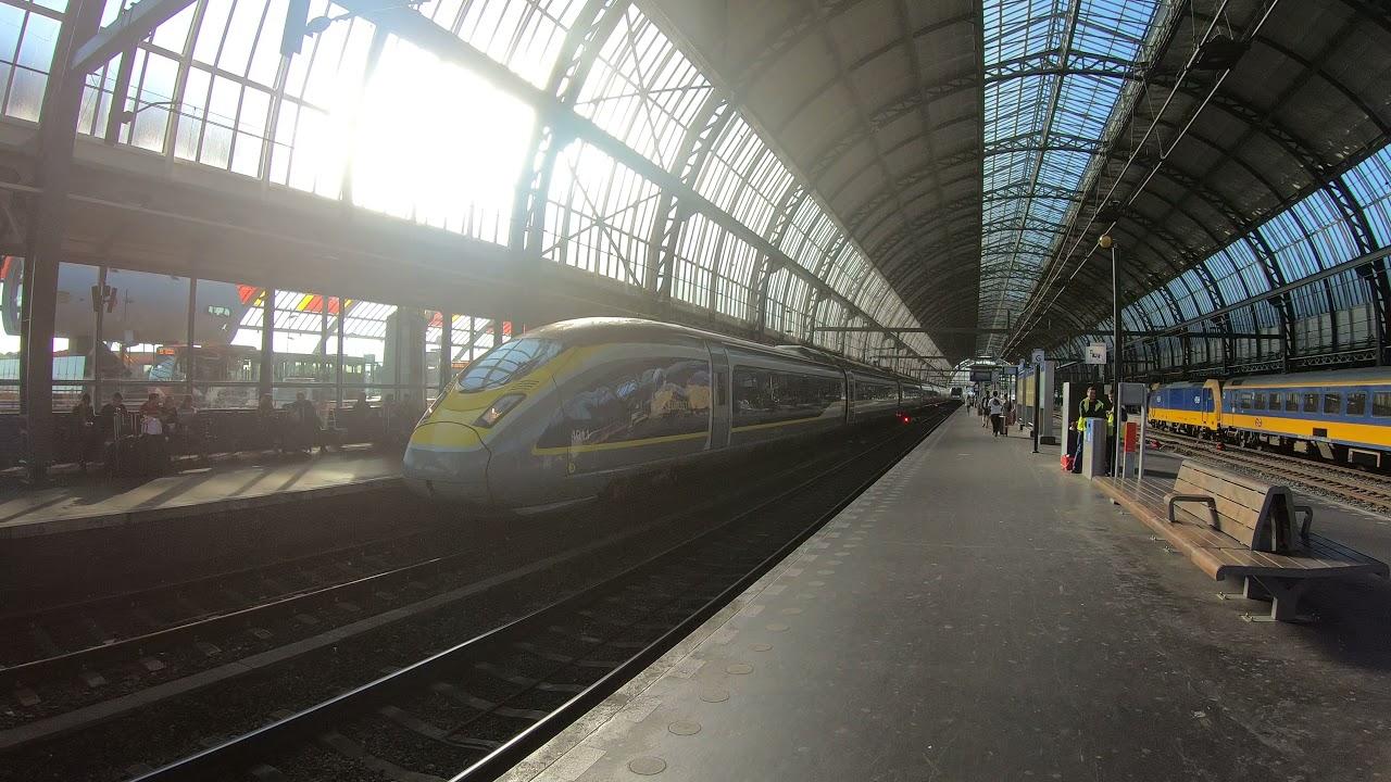 Eurostar 4011/4012 vertrekt uit station Amsterdam Centraal