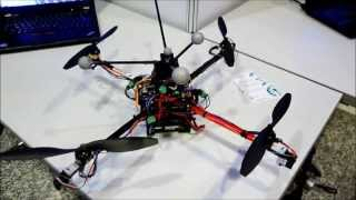 First Flight Tests for a Quadrotor UAV with Tilting Propellers