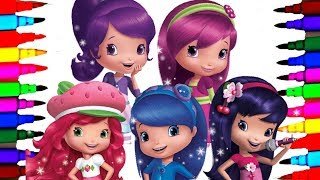 Strawberry Shortcake Berry Best Friends Forever Coloring Drawing Pages To Learn Colors for Kids