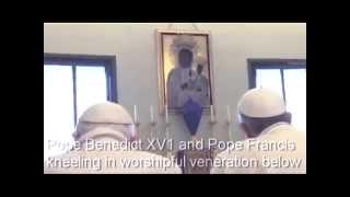 2 Popes Venerating Black Madonna Christ Child