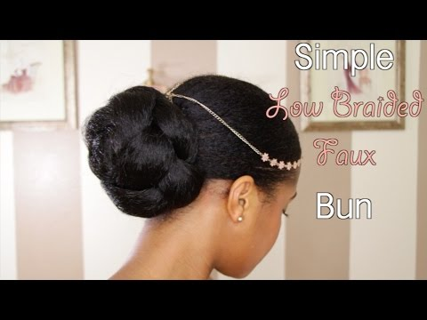 Simple Low Faux Bun on Natural Hair
