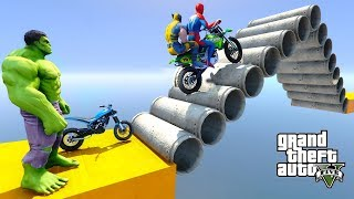 Spiderman Pipe Stairs Parkour Challenge With Motorcycles Superheroes - GTA V MODS