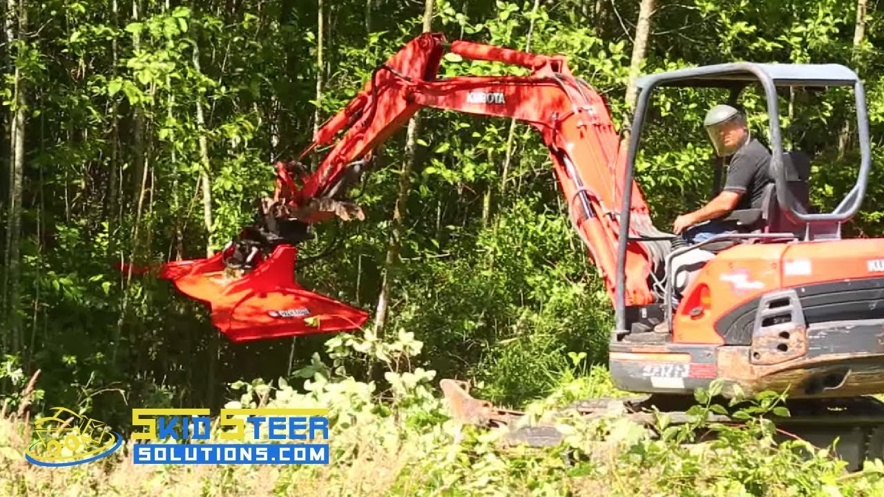 Excavator Brush Cutter Clearing Trees Raw Video - The Cyclone 48