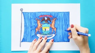 How to draw and color the Flag of Michigan State, USA