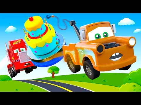 A Funny Story with Mcqueen Cars Friends Tow Truck, Mack Truck Cars: Birthday Big Cake for McQueen