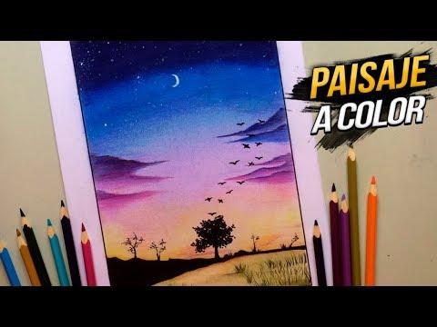 PAISAJE A COLOR CON LÁPICES DE COLORES PASO A PASO [Osvaldo Latino]