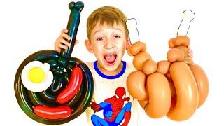 Руслан веселится и играет с мамой в шарики | Скетч от Ромариков