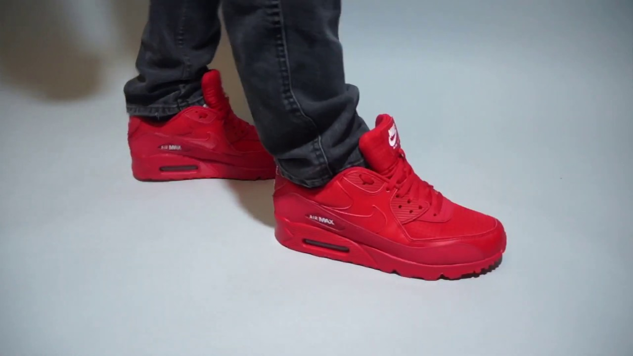 089b26184aa7 Nike Air Max 90 Essential University Red AJ1285-602 on feet - YouTube
