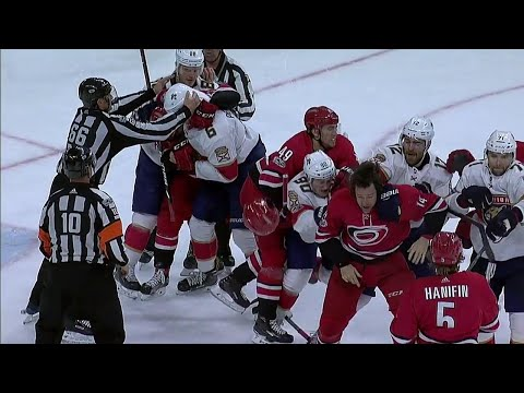 Quick but furious brawl breaks out between Panthers and Hurricanes