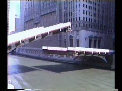 Bascule bridges - Klappbrücken in Chicago 1988 - Madison Street and Monroe Street