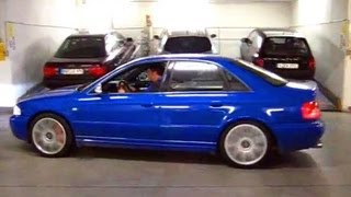 Audi B5 S4 - Practicing 4-wheel Burnout AWD Launches in Parking Garage...