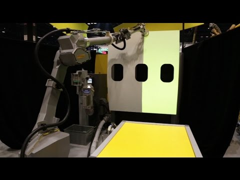 Robotic Sanding, Washing & Drying An Aircraft Fuselage With FANUC's New P-350iA/45 Robot