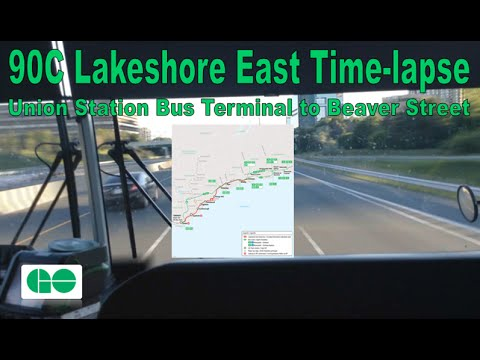 GO Transit - 90C Lakeshore East Time-lapse (Union Station Bus Terminal to Beaver Street