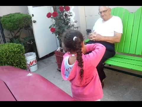 Sofia cheerleader to grandpa Bowers