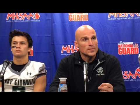 Grand Rapids West Catholic coach Joseph Hyland discusses 43-6 win over Menominee