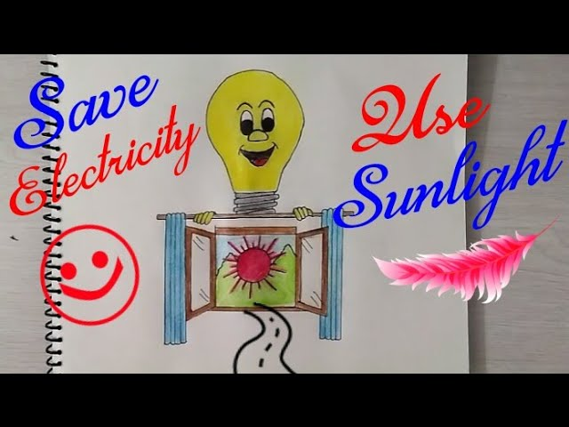 How to draw Save Electricity Coloring Poster step by step || Use Sunlight drawing for kids ||