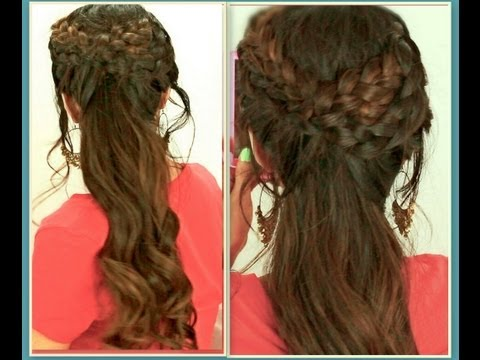 ★grecian-braid-hairstyles-hair-tutorial-for-medium-long-hair-|-curly-ponytail-updos-for-school