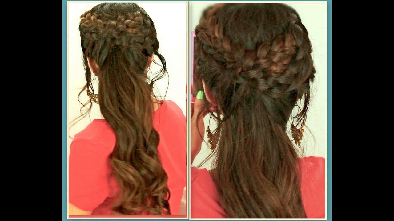 ★grecian braid hairstyles hair tutorial for medium long hair | curly ponytail updos for school