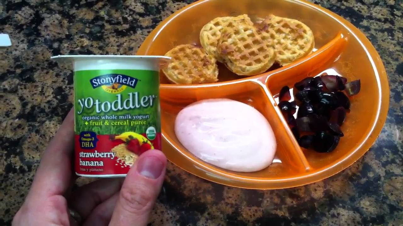 Toddler Meal Idea Breakfast Waffles With Yogurt And Grapes