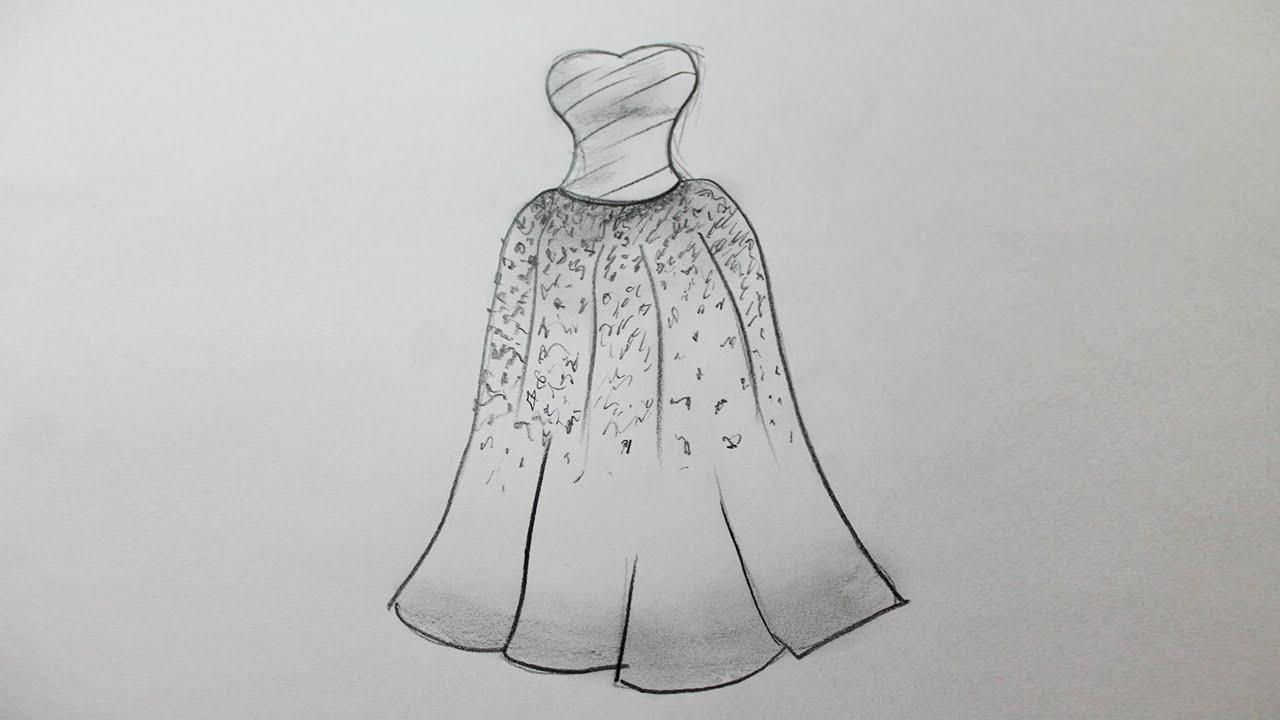 Comment dessiner une robe de mariage - YouTube