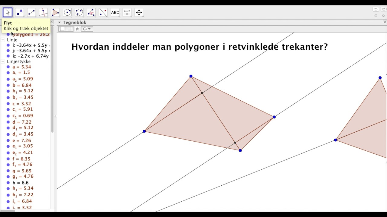 Inddeling i retvinklede trekanter