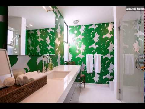 kleine g ste wc mit bright green tapete gestaltung der akzent wand youtube. Black Bedroom Furniture Sets. Home Design Ideas